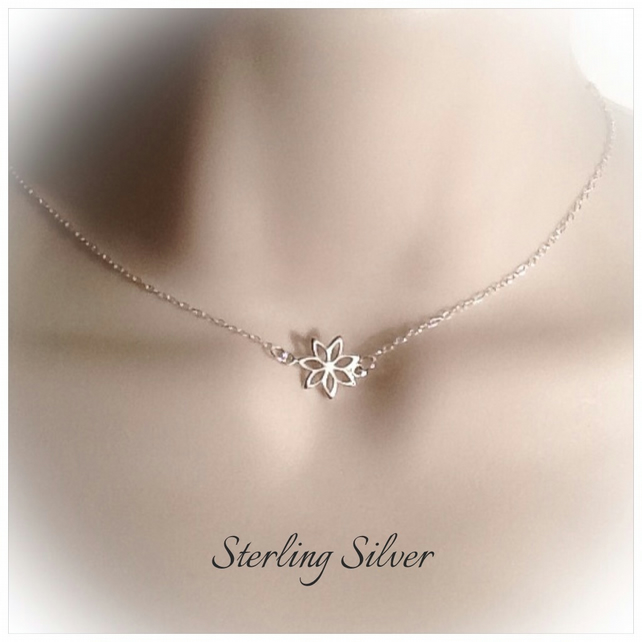 Sterling Silver Flower Necklace by Cool Creations