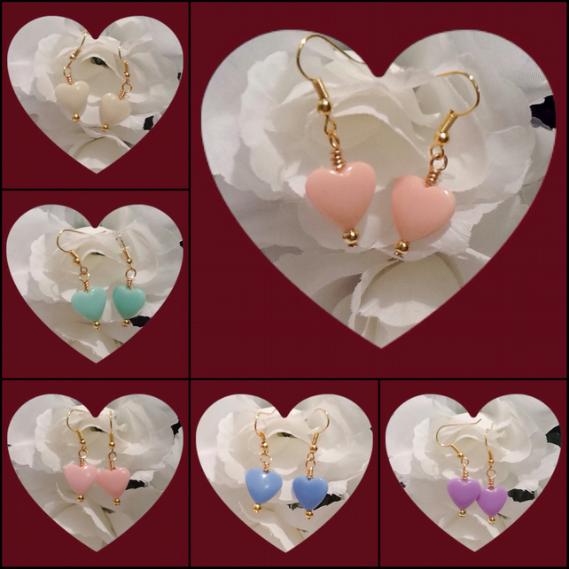 Sweetheart Gold Plated Heart Shaped Earrings in 6 Colours by Cool Creations