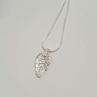 Handmade Fine Silver Crinkled Leaf on a Sterling Silver Chain by Cool Creations