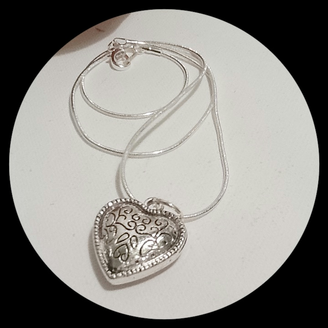 Sweetheart Valentine Heart Necklace with Silver Plated Snake Chain