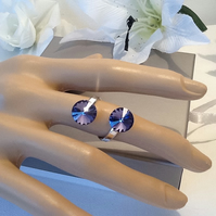 Sterling Silver Adjustable Ring with Twin Tanzanite Swarovski Rivoli Crystals