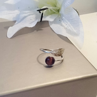 Sterling Silver Adjustable Leaf Ring with Amethyst Cats Eye Gemstone