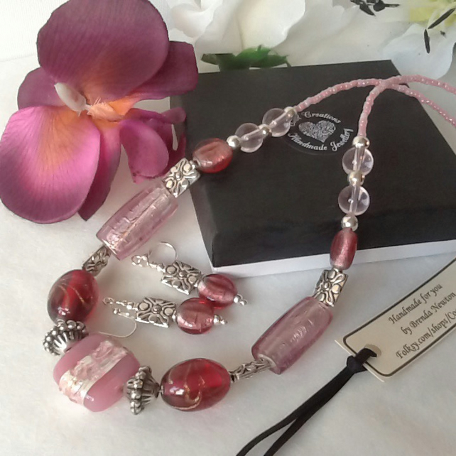 Mothers Day Pretty in Pink Necklace with Matching Earrings and Magnetic Clasp