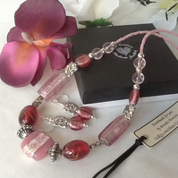 Pretty in Pink Necklace with Earrings and Magnetic Clasp Gift Boxed Christmas