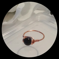 Black Faceted Agate Gemstone Wire Wrapped Copper Ring by Cool Creations
