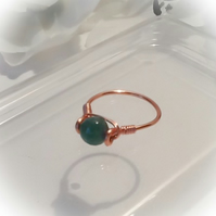 Green Faceted Agate Wire Wrapped Copper Ring by Cool Creations
