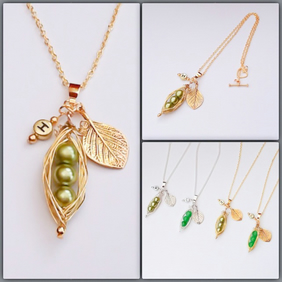 Golden Pea Pod Necklace