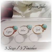 Mint Green Jade Gemstone Ring in Silver Plate, Gold Plate and Pure Copper