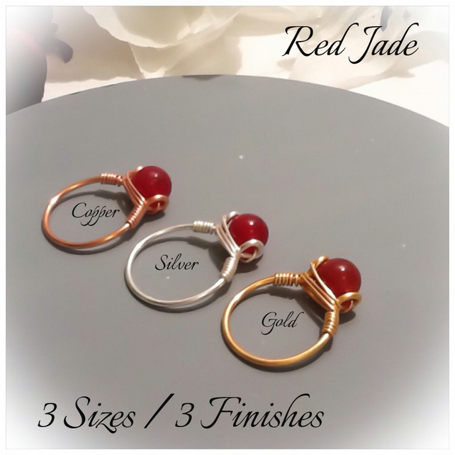 Red Jade Gemstone Ring in Gold Plate, Silver Plate and Pure Copper