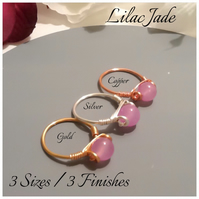 Lilac Jade Gemstone Ring in Gold Plate, Silver Plate and Pure Copper