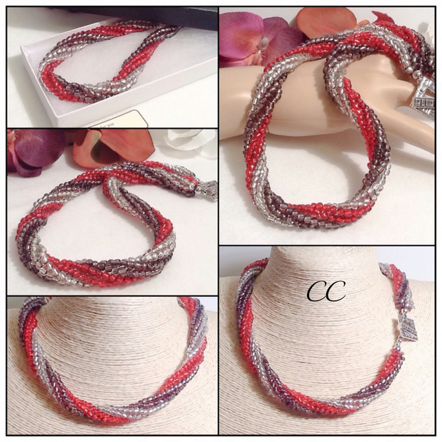 Red & Grey Chunky Russian Spiral Beaded Necklace Handmade by Cool Creations