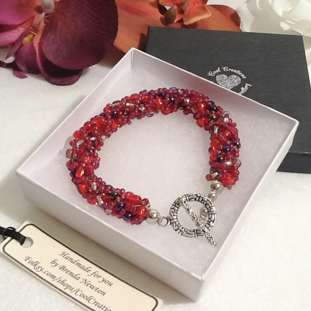 Autumn Berries Red & Purple Beaded Bracelet Handmade by Cool Creations