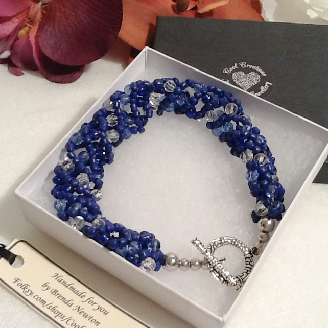 Summer Skies Blue Beaded Bracelet Handmade by Cool Creations