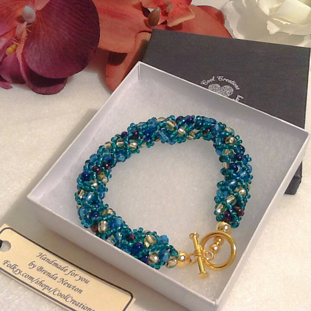 Summer Sea Turquoise Beaded Bracelet Handmade by Cool Creations