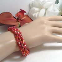 Autumn Forest Beaded Bracelet in Gold, Copper & Red by Cool Creations
