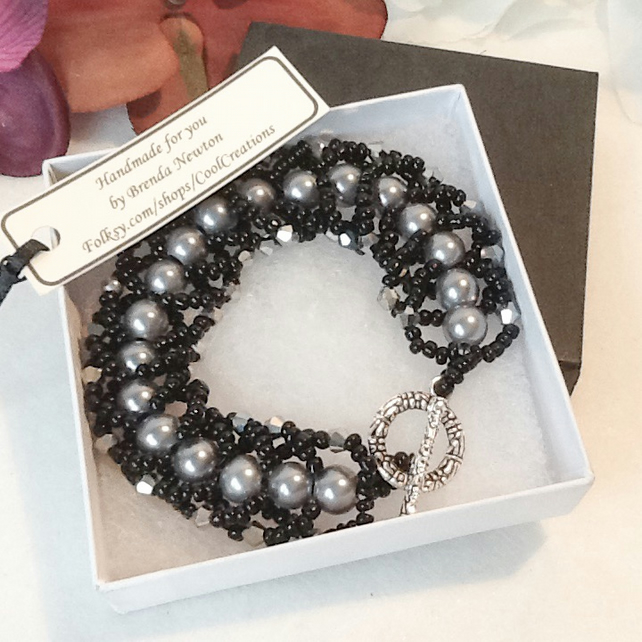 Hint of Deco Pewter & Black Beaded Spiral Bracelet by Cool Creations