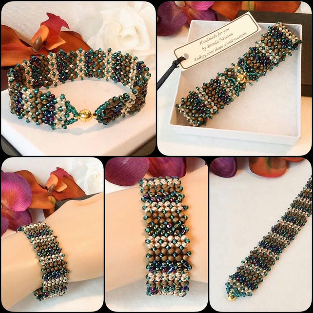 Beaded Bracelet in Teal & Gold with Magnetic Clasp by Cool Creations