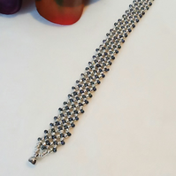 Silver & Gunmetal Vintage Inspired Beaded Bracelet With Magnetic Clasp