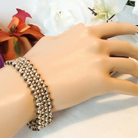 Gold & Bronze Vintage Inspired Beaded Bracelet with Magnetic Clasp