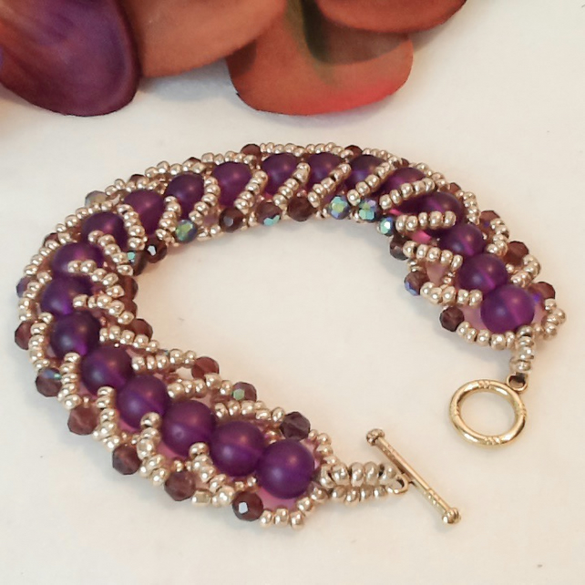Hint of Deco Purple & Gold Spiral Beaded Bracelet by Cool Creations