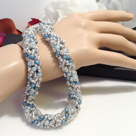 Pretty Blue Russian Spiral Beaded Necklace Handmade by Cool Creations