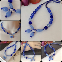 Sapphire Blue & Silver Necklace with Magnetic Clasp by Cool Creations
