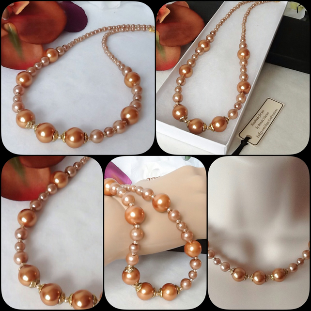 Copper Gold Pearl Necklace With Magnetic Clasp by Cool Creations