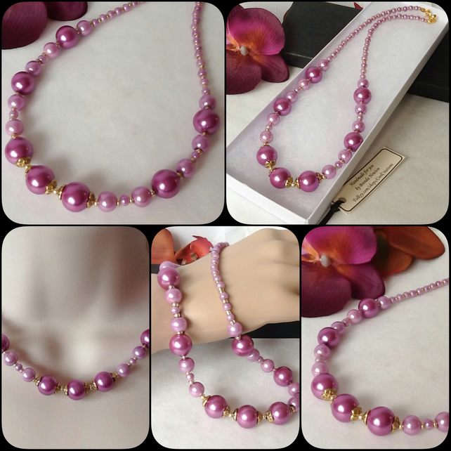 Dusky Pink & Gold Pearl Necklace with Magnetic Clasp by Cool Creations