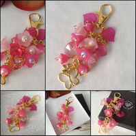 Hearts & Flowers Pink and Gold Bag Charm Handmade by Cool Creations