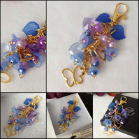 Hearts & Flowers Blue and Gold Bag Charm Handmade by Cool Creations