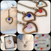 Twelve Colours Jade Gemstone Bronze Heart Birthstone Pendant Necklace