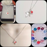 Twelve Colours Sterling Silver Necklace with Swarovski Crystal Drop