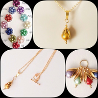 Twelve Colours Golden Pearl Bud Necklace by Cool Creations