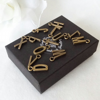 Add-On Personalised Bronze Tone Initial Alphabet Charm