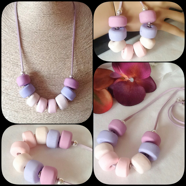'Sweet Pea' Chunky Pendant Necklace with Handmade Beads in Pink, Lilac & Cream
