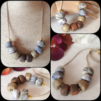 'Pebbles' Chunky Pendant Necklace with Handmade Beads in Earthy Shades