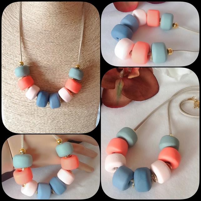'Coral Reef' Chunky Pendant Necklace with Handmade Beads in Coral & Turquoise