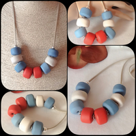 'Urban Chic' Chunky Pendant Necklace with Handmade Beads in Brick & Teal