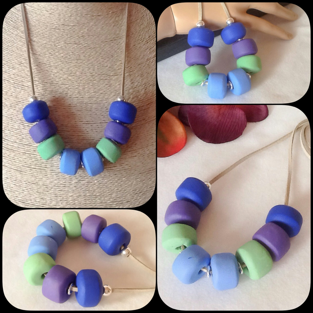 'Bluebell' Chunky Pendant Necklace with Handmade Beadsin Blue, Purple & Green
