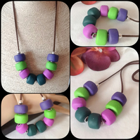 'Pansy' Chunky Pendant Necklace with Handmade Beads in Magenta and Green