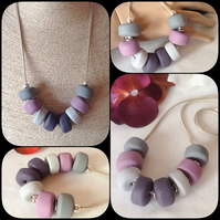 'Storm' Chunky Statement Pendant Necklace with Handmade Beads in Grey and Mauve