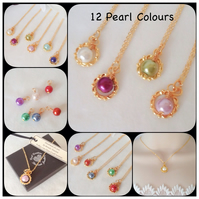 Twelve Colours Personalised Pearl Birthstone Gold Plated Pendant Necklace