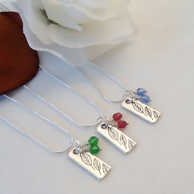 Preciosa Birthstone Crystals on a Silver Leaf Pendant Gift Boxed Birthday Gift