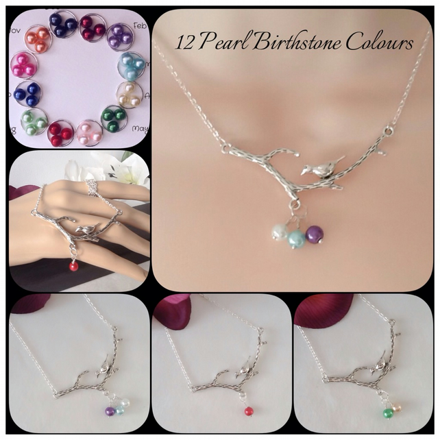 Twelve Colours Mother Bird Family Birthstone Pearl Pendant Necklace