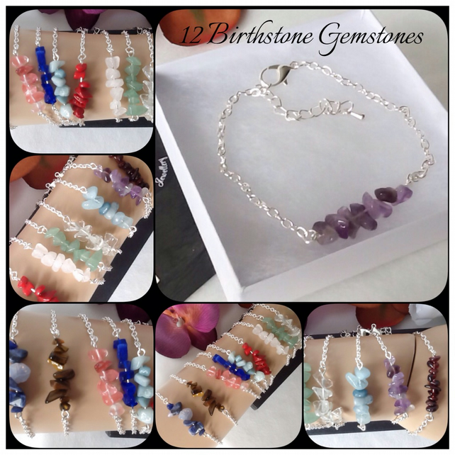 Twelve Gemstones Adjustable Silver Plated Personalised Birthstone Bracelet