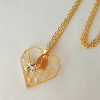 'Drop of Honey' Golden Honeycomb & Bee Heart Shaped Pendant Necklace