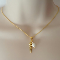 Golden Shell & Freshwater Pearl Pendant Necklace