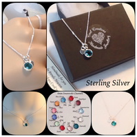 Personalised Swarovski Crystal Channel Birthstone Sterling Silver Necklace