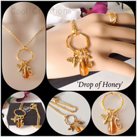 Personalised 'Drop of Honey' Bee Pendant Necklace with Gold Plated Letter Charm