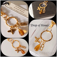 Personalised 'Drop of Honey' Bag Charm with Honey Bee & Initial Alphabet Letter